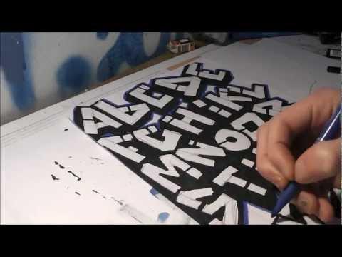 Apprendre le tag alphabet sketch graff 3d sur papier action nozer 2012 art youtube - Dessin de tag alphabet ...