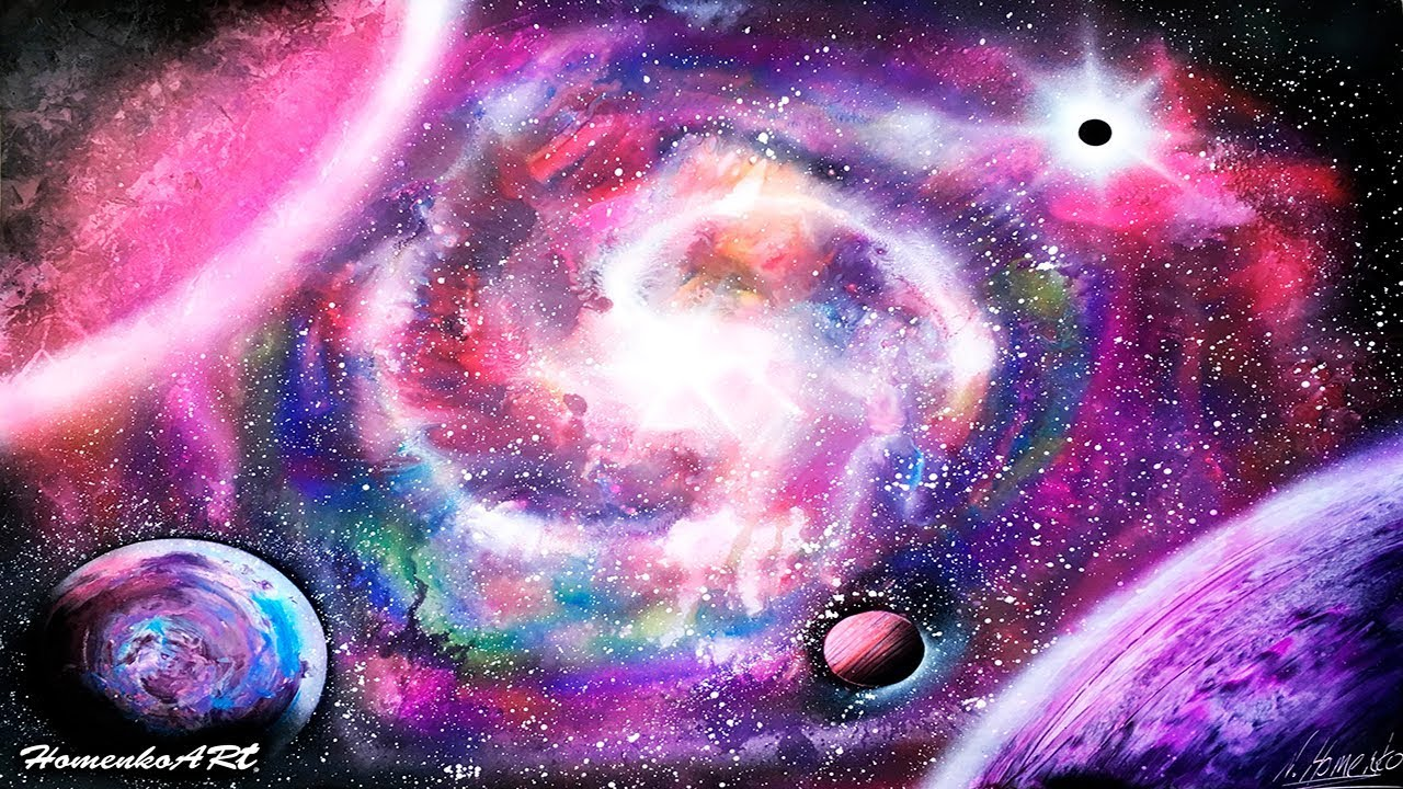 amazing spray paint art nebula picture pink violet blue space painting cosmous by homenko youtube. Black Bedroom Furniture Sets. Home Design Ideas