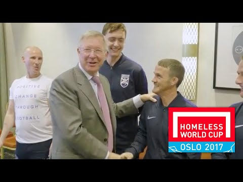 Sir Alex Ferguson meets Street Soccer Scotland players