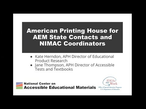 American Printing House for AEM State Contacts and NIMAC Coordinators