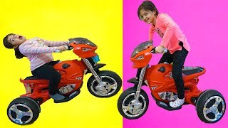 Masal and Öykü Ride on Sportbike Power Wheels and Unboxing toys - Fun Kids Video