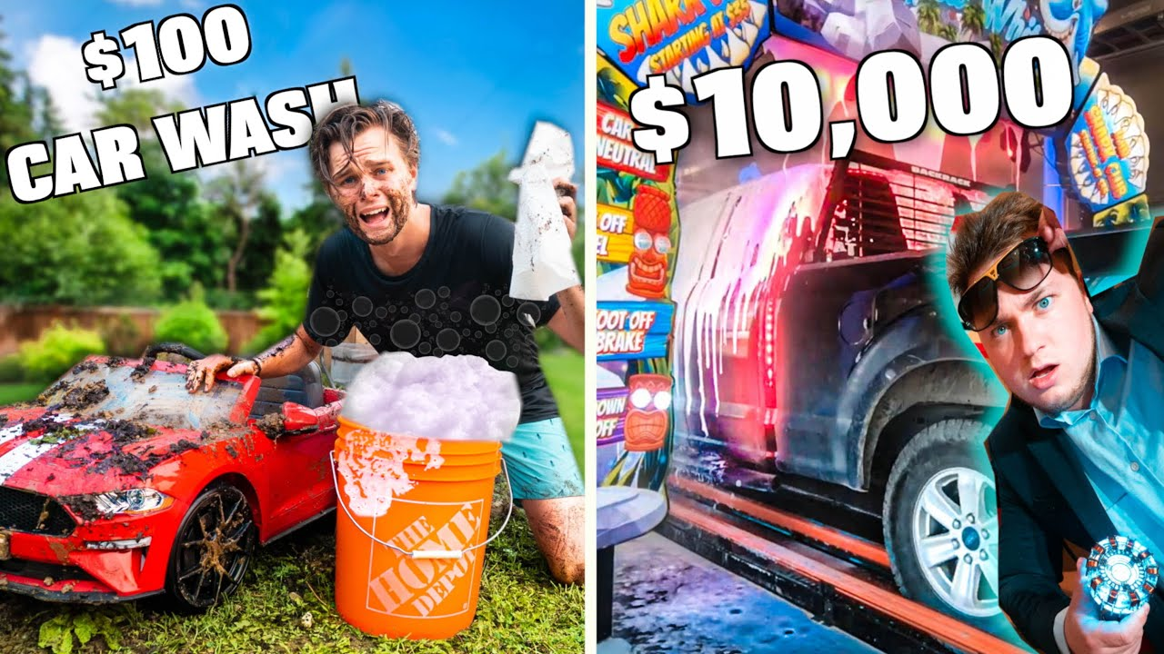 $100 Vs 10,000 Box Fort Car Wash!! BUDGET CHALLENGE!