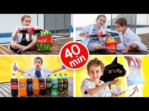 PAULINHO CIENTISTA COMPLETO #2 - Coca Cola, Melancia, Mentos, Melão - 40 min de Vídeos para Crianças