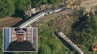 Aerial footage shows Stonehaven trail derailment as British Transport Police confirm fatalities