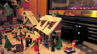 LEGO Emerald Night 10194 steam engine train around the Christmas tree (custom 9.6V Power Functions)