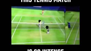 Wii sports tennis game is intense!