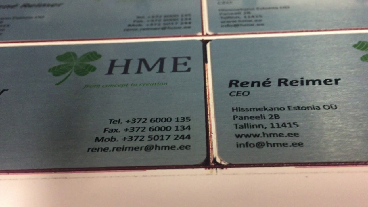 Print on metal. Business cards in aluminium - YouTube
