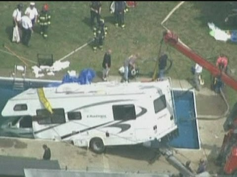 Dramatic footage: Motorhome plunges into swimming pool in Massachusetts