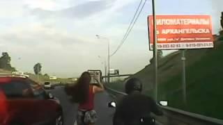 Секс на мотоцикле во время движения (лишнее вырезано)
