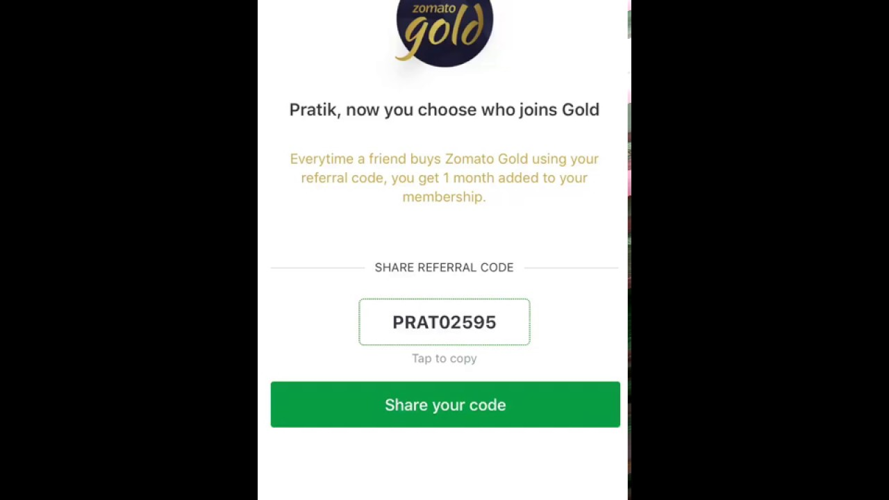 Zomato Gold referral code  Extra one month free offer