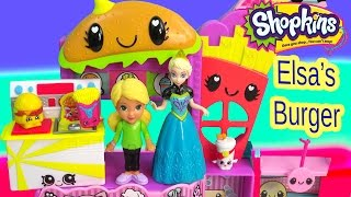 Queen Elsa Disney Frozen Mall Burger Shopkins Season 3 FAST FOOD Alana Dora The Explorer Toy Video