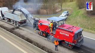 WIRTGEN W 220 Large Milling Machine & Trucks / Sattelkipper, B 14, Fellbach, 16.03.2018. #3