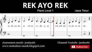 not balok rek ayo rek - piano level 1 - lagu daerah jawa timur - solmisasi