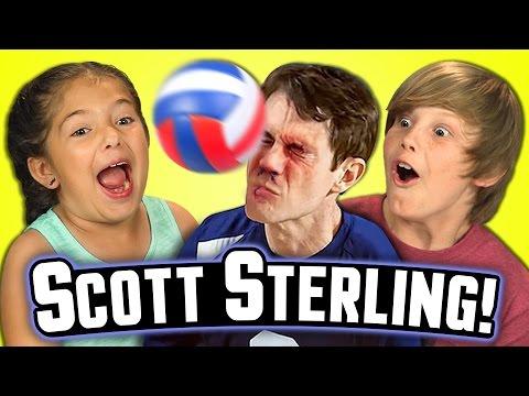 Kids React to SCOTT STERLING!!! (Best Volleyball Blocks Ever)