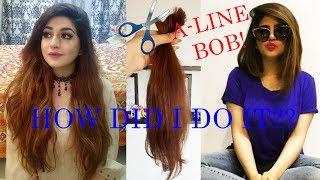 I CHOPPED MY HAIR   DIY-  How To Cut An Asymmetrical A-Line Bob    Glossips