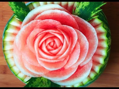how to make watermelon roses beautiful rose flower watermelon garnish food decoration youtube. Black Bedroom Furniture Sets. Home Design Ideas