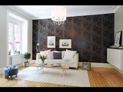 Feature wallpaper decorating ideas living room - YouTube
