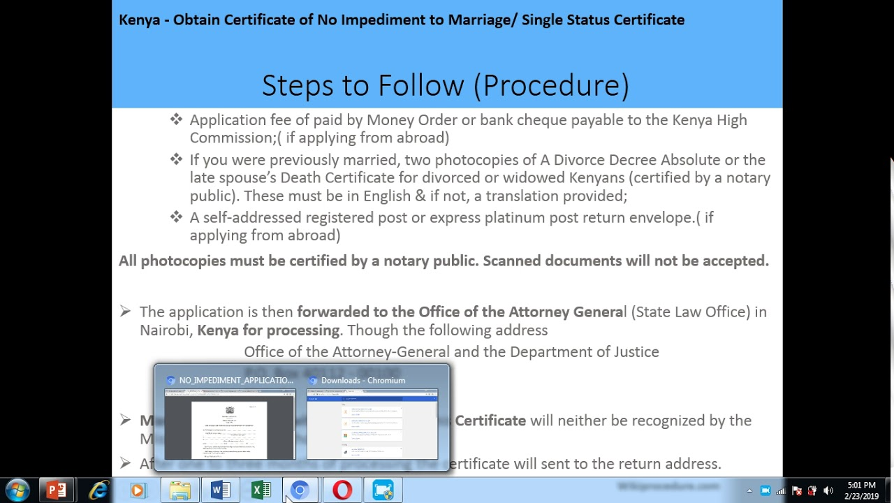 Kenya - Obtain Certificate of No Impediment to Marriage
