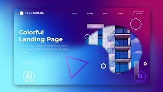 Landing Page - Abstract Background #7 - Clipping Mask - Adobe Illustrator Tutorial