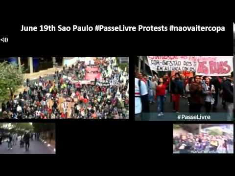 June 19th Sao Paulo #PasseLivre Protests #naovaitercopa
