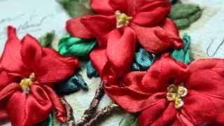 Объемная Вышивка Лентами - Пуансеттия / Вышивка Цветы(Объемная Вышивка Лентами - Пуансеттия / Вышивка Цветы. Техника исполнения работы - объемная вышивка, вышивка..., 2015-05-07T10:07:49.000Z)