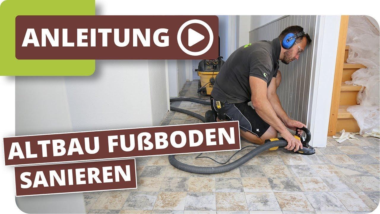 Altbau Fußboden sanieren - Kleberückstände von Fliesen