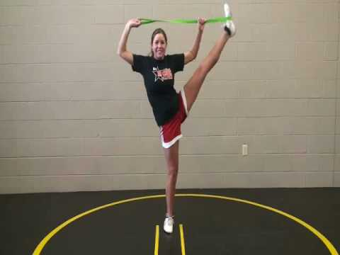 Cheerleading - How to get your Scorpion and Heel Stretch with easy exercises using the Stunt Strap Travel Video