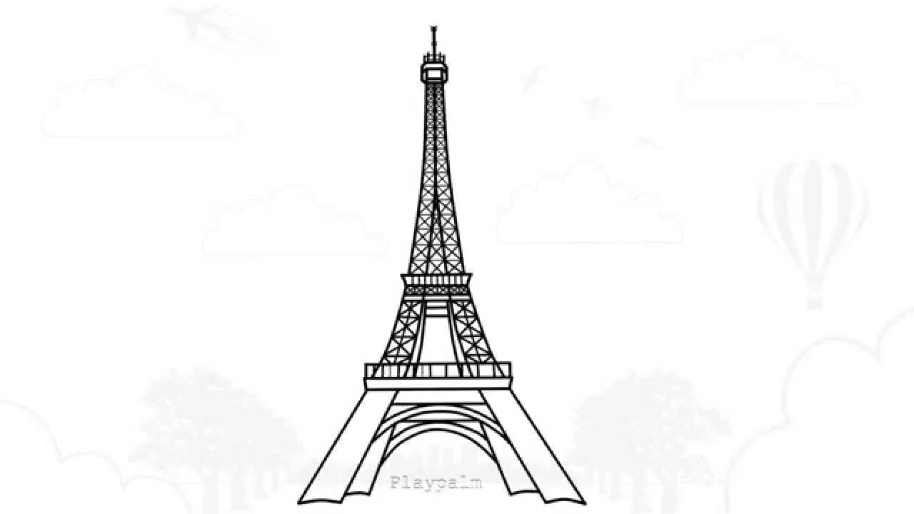 how to draw eiffel tower paris eiffel tower drawing tutorial youtube