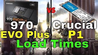 NVMe Samsung 970 Evo Plus vs Crucial P1 Gaming Load Times Comparison in 5 Games