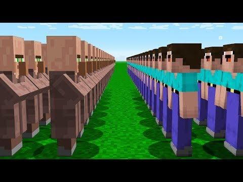 Minecraft PE : 1000 NOOB ARMY VS 1000 VILLAGER ARMY! Minecraft NOOB Vs PRO 100% Trolling