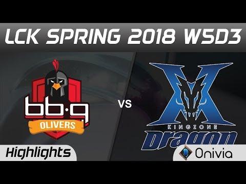 BBQ vs KZ Highlights Game 1 LCK Spring 2018 W5D3 BBQ Olivers vs Kingzone DragonX by Onivia