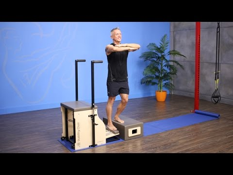Foot Press on Long Box on Pilates Chair