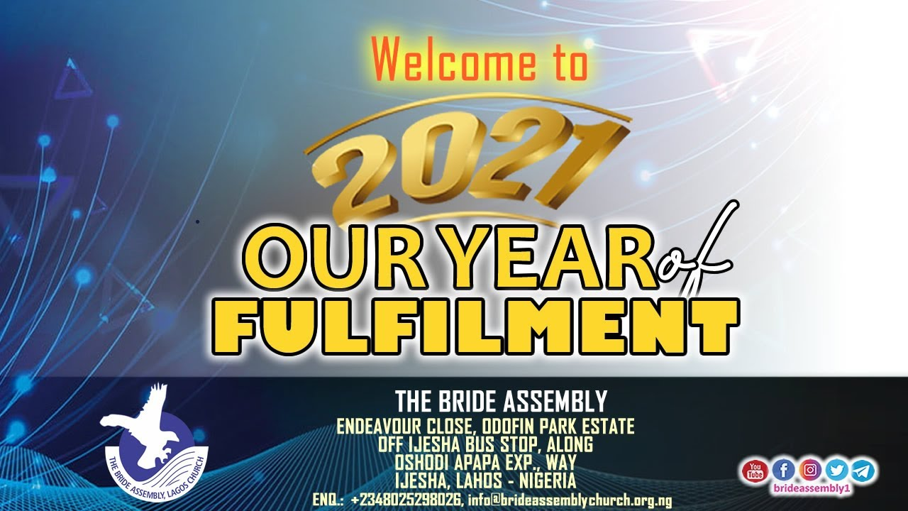LIVE SERVICE:THE BRIDE ASSEMBLY WORSHIP SERVICESUN. 17TH JANUARY 2021STAY BLESSED