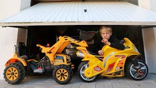 Funny Baby Ride on New Bike Mini Power Wheel Pocket Bike Tractor Hide and Seek in Garage with Daddy