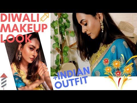 Diwali Makeup Look Tutorial in Hindi+ Indian Outfit