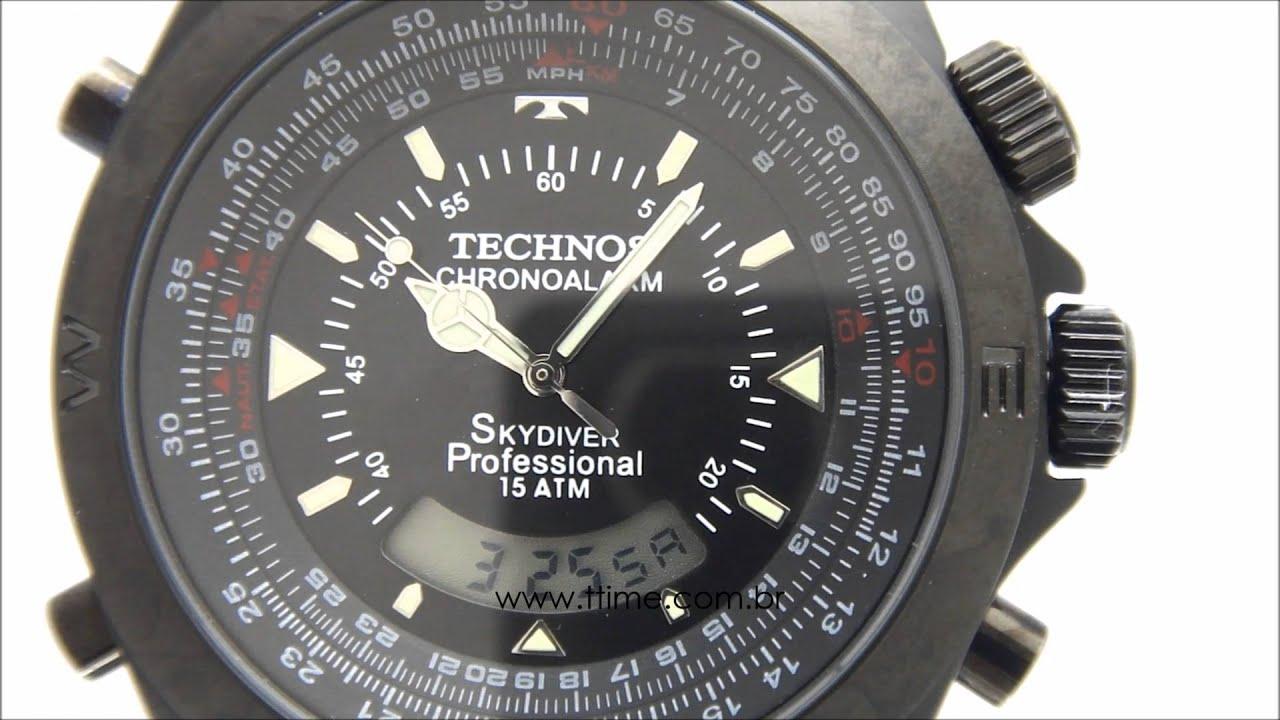 RELÓGIO TECHNOS SKYDIVER PROFESSIONAL T20570 1P - YouTube 5e07b2c0e2