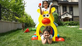 Masal and Öykü pretend play Survivor 2020 - funny kids