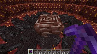 Mining Ancient Debris with Netherite Pickaxe MAX LEVEL Fortune in Minecraft