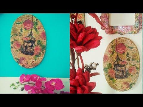 DIY - Decoupage on Canvas. Vintage Canvas Wall Decor. Shabby Chic Canvas. Easy Canvas Art.