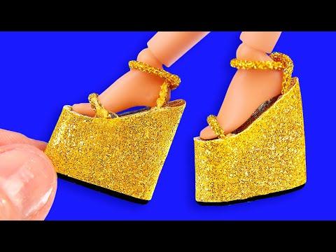 25 DIY Miniature Hacks And Crafts For Barbie! High-heel Golden Shoes