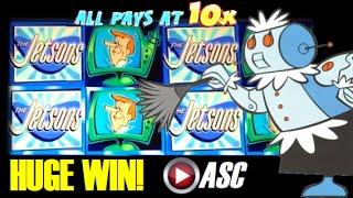 Video *HUGE WIN* THE JETSONS   WMS - MAX BET! George Jetson 10X PAY Slot Machine Bonus download MP3, 3GP, MP4, WEBM, AVI, FLV Mei 2018