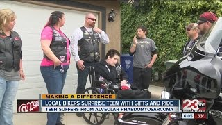 Local bikers surprise teen with gifts and ride around town | 23 ABC News | KERO