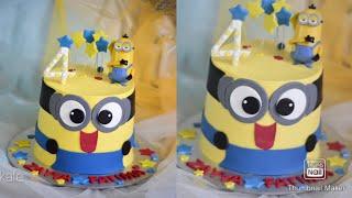ഈ കകക ഞനങങന ഉണടകകയനന കണ:Minion theme cake decorations # Kattoor Kafe# Fondant#