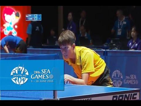 Table Tennis Men's Singles Singapore vs Cambodia | 28th SEA Games Singapore 2015