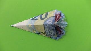 Geld falten ❁ Geldgeschenk für die Einschulung basteln ❁ Schultüte