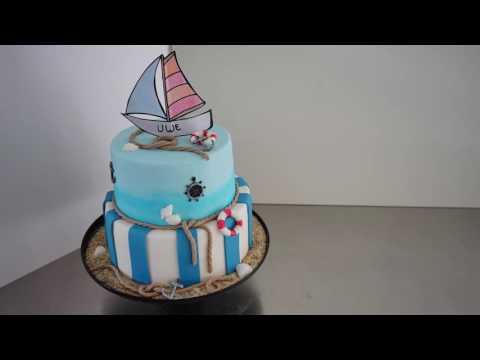 Einfache, anfängerfreundliche, maritime Fondanttorte - Fondanttorte 2 Etagen - Kuchenfee