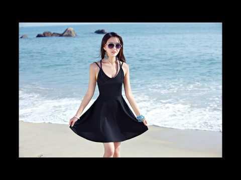 แฟชั่นเที่ยวทะเล : ชุดเดรสสั้นเที่ยวทะเลสีดำโชว์หลัง สุดเซ็กซี่