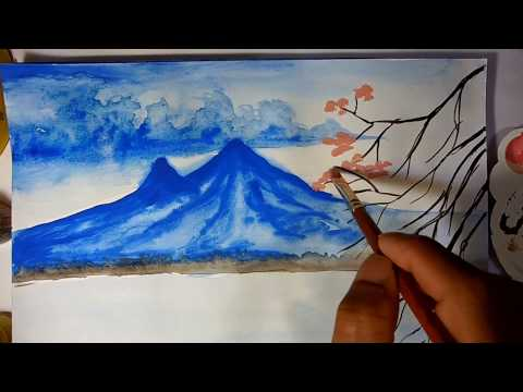 Scenery painting watercolour || Landscape painting with watercolor || nature painting step by step