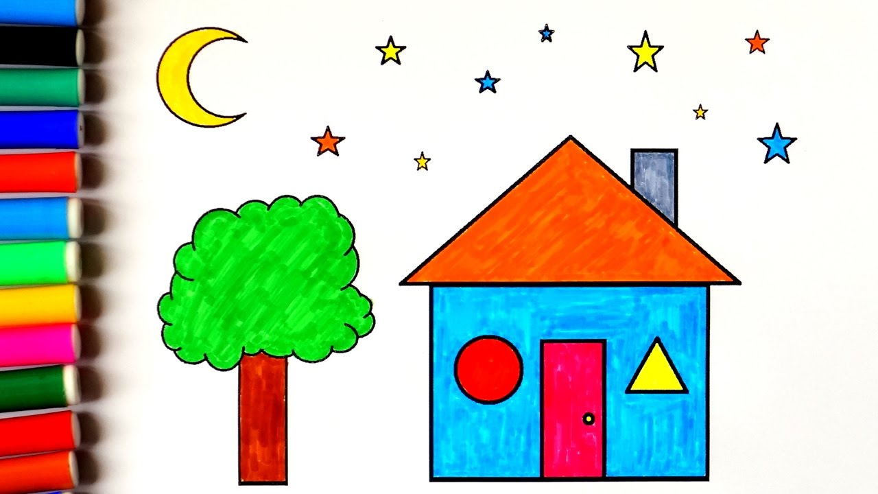 house coloring pages coloring house with tree moon and stars
