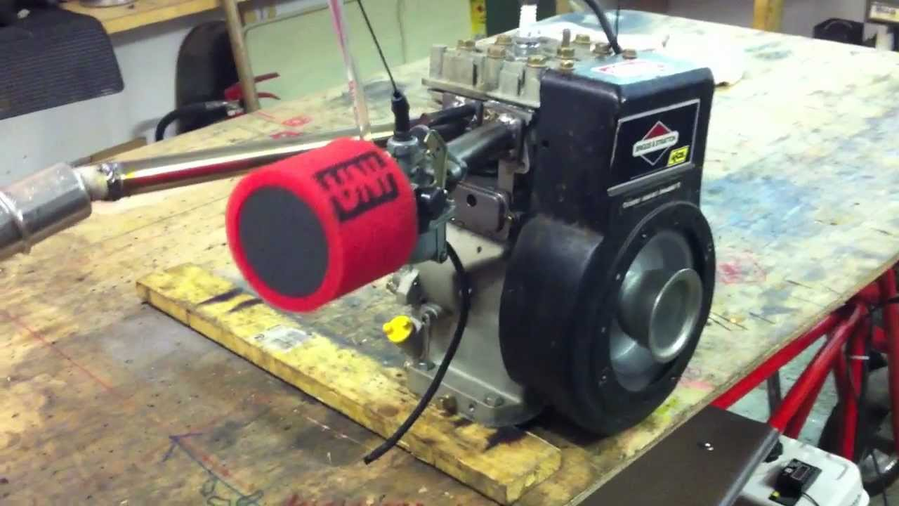 Briggs stratton 5hp mini drag bike engine start up youtube for Briggs and stratton 5hp motor